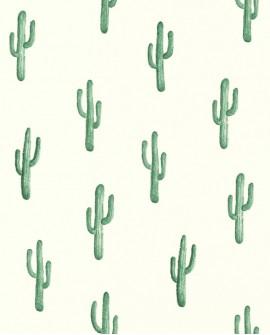 Papier peint Rasch Greenhouse Cactus vert émeraude 138900