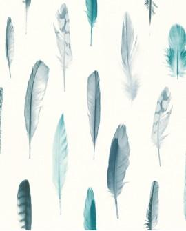 Papier peint Esta Home Greenhouse Plumes Vert turquoise 138895