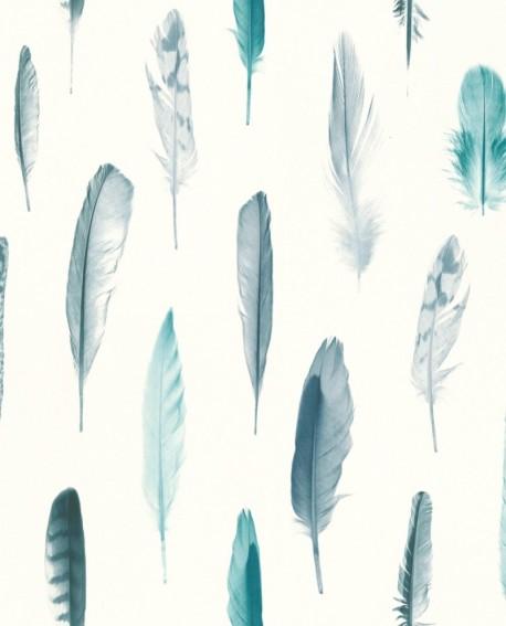 Papier peint Greenhouse Plumes vert turquoise 138895
