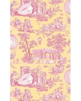 Papier Peint Toile de Jouy Charles Burger Ballon de Gonesse Fuchsia/Citron