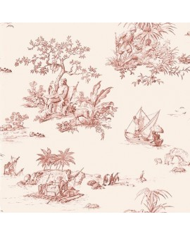 Papier Peint Toile de Jouy Charles Burger Robinson Crusoe Rouge