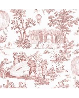 Papier Peint Toile de Jouy Charles Burger Ballon de Gonesse Rose