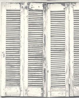 Papier peint Rasch Greenhouse Persiennes anciennes gris et blanc 138882