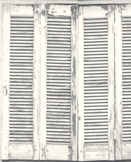 papier peint greenhouse persiennes anciennes gris et blanc 138882. Black Bedroom Furniture Sets. Home Design Ideas