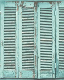 Papier peint Rasch Greenhouse Persiennes anciennes turquoise grisé 138884