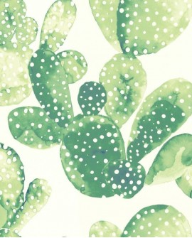 Papier peint Esta Home Greenhouse Cactus aquarelle vert jungle 138902