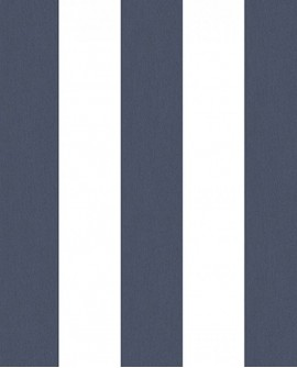 Papier peint Lutèce Jeux de Rayures 2 Rayure bleu marine et blanc G67584