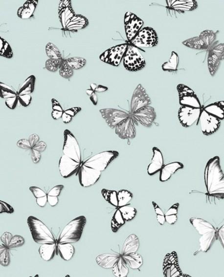 Papier peint Rasch Greenhouse Papillons voletant vert menthe pastel clair 138876