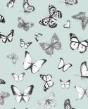 Papier peint Esta Home Greenhouse Papillons voletant vert menthe pastel clair 138876