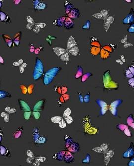 Papier peint Esta Home Greenhouse Papillons voletant multicolore fond noir 138508