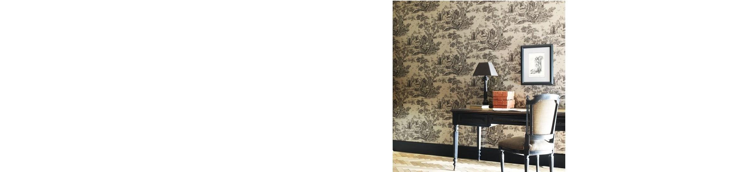 Papiers peints et tissus coordonnés Toile de Jouy collection Fontainebleau